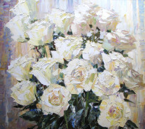 «Белые розы» 80х90см