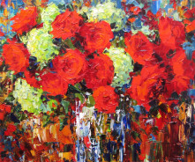 «Букет с красными розами» 50x60см