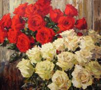 «Красные и белые розы» 80х90см