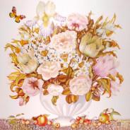 «Цветы и черешня» 90х90см